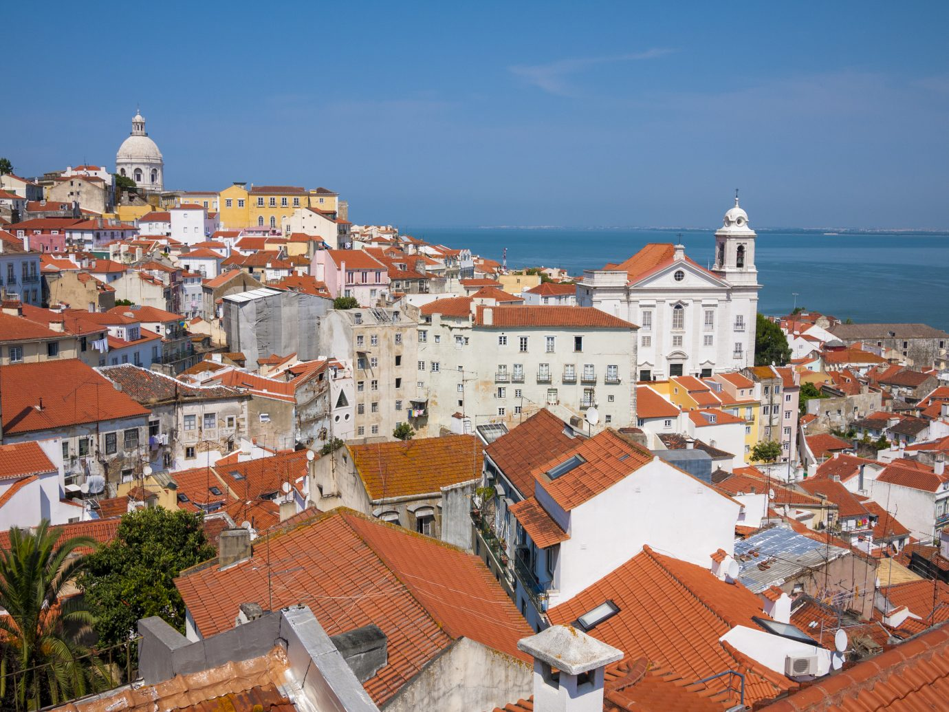 Lisbon Alfama district with red roofs and view of river Tagus - vertical view
