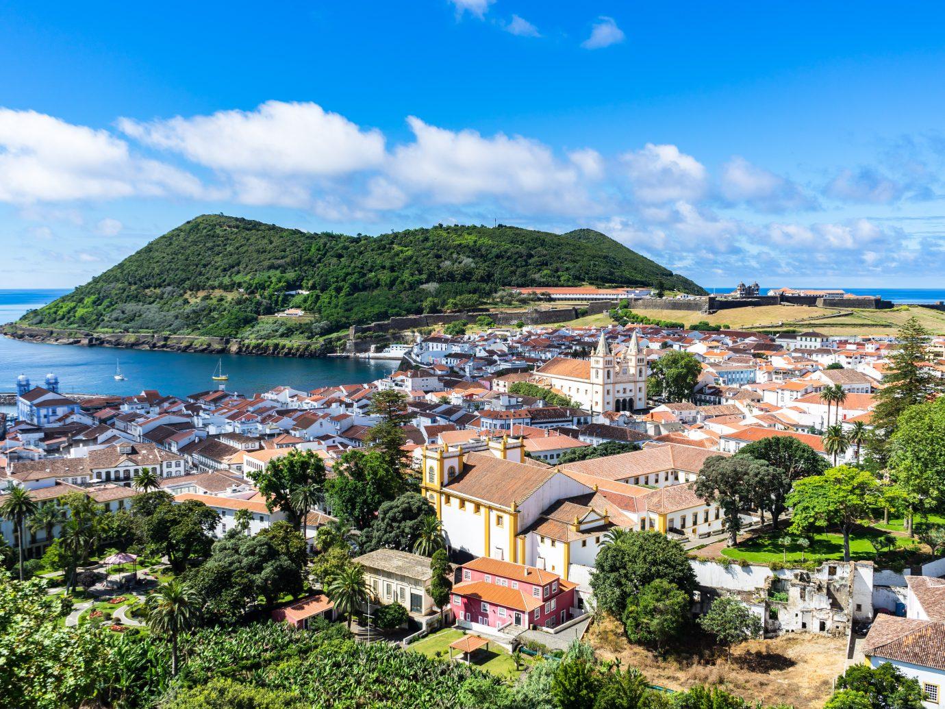 Sunny view of Angra do Heroismo from Alto da Memoria, Azores, Portugal