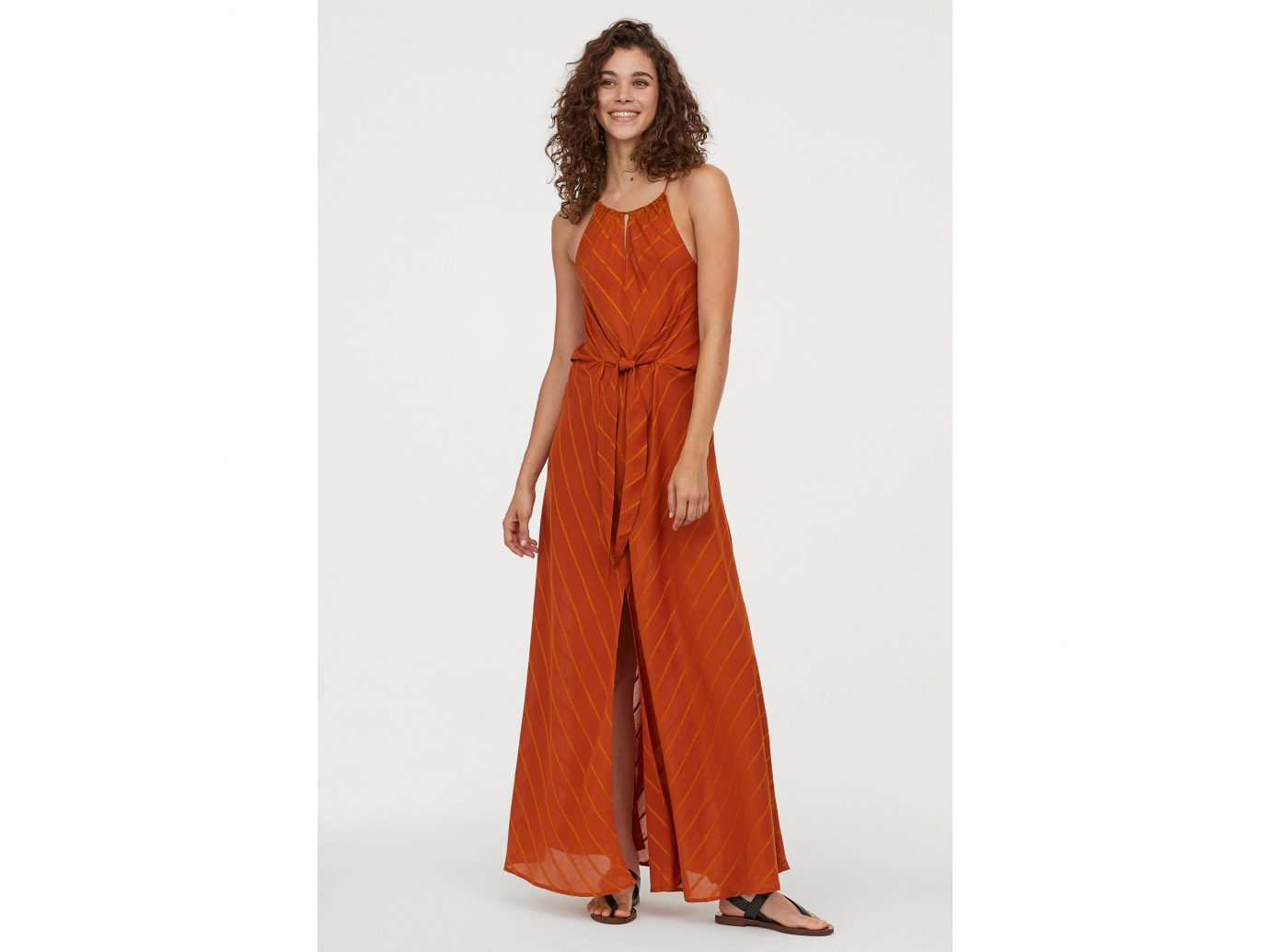 H&M's Conscious striped maxi dress in red and orange