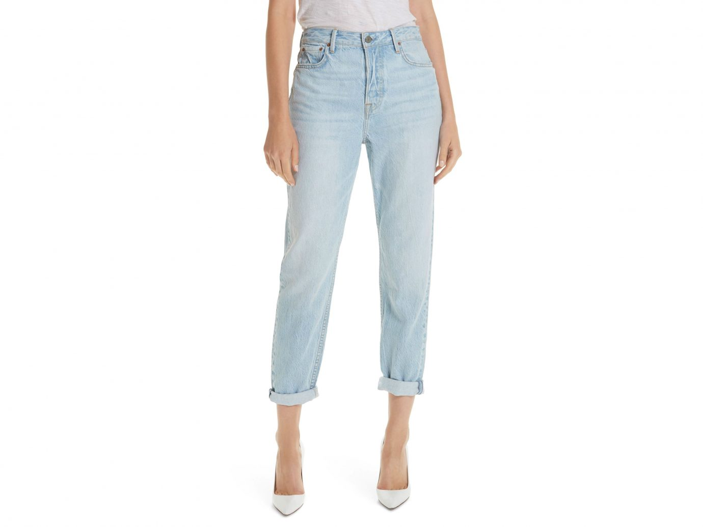 light-wash denim for summer—we love GRLFRND's cuffed boyfriend jeans