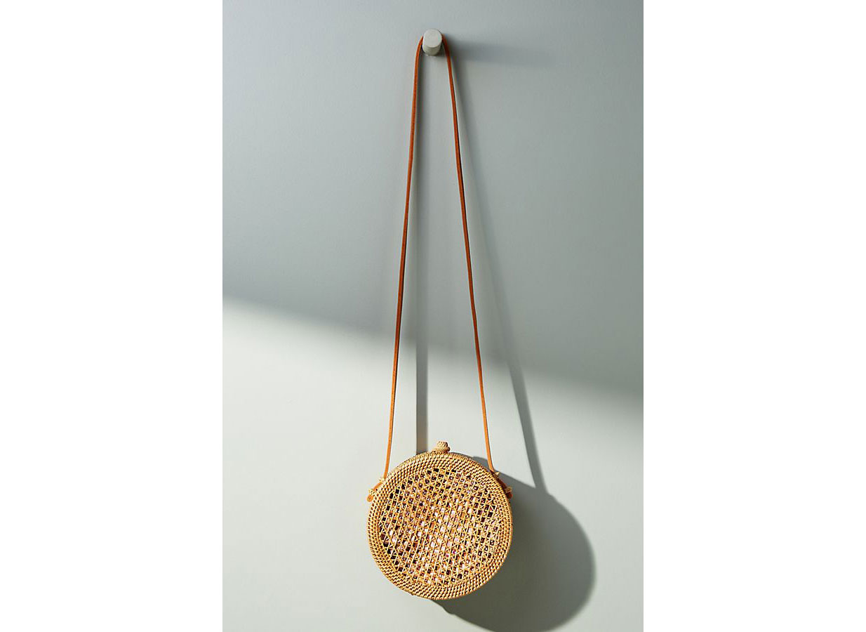 Anthropologie Rattan Circle Bag
