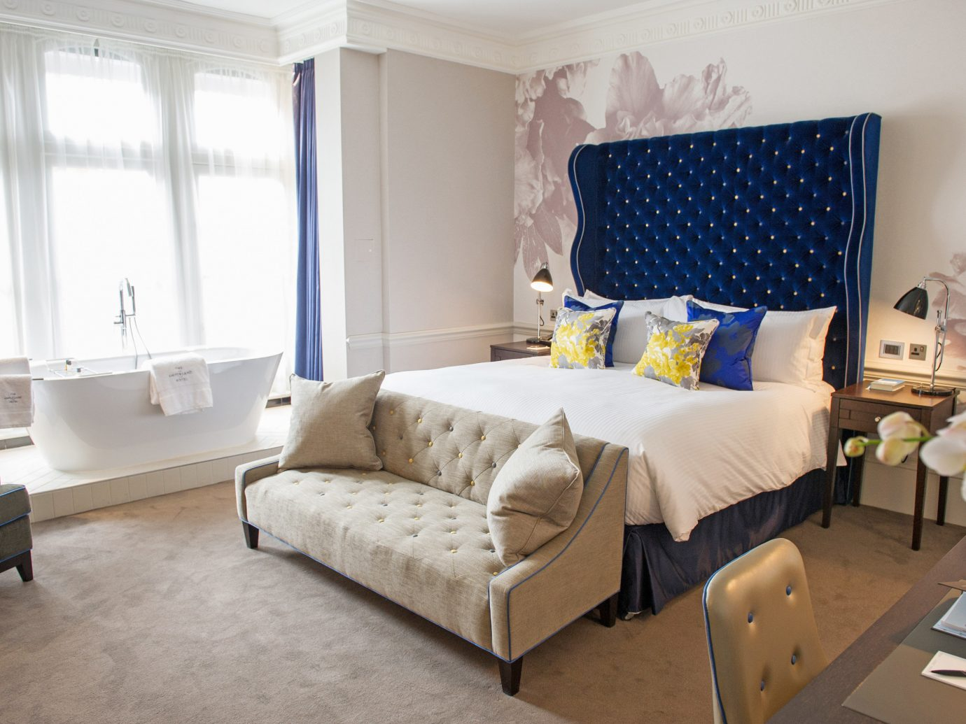 Bedroom at the Ampersand Hotel London.
