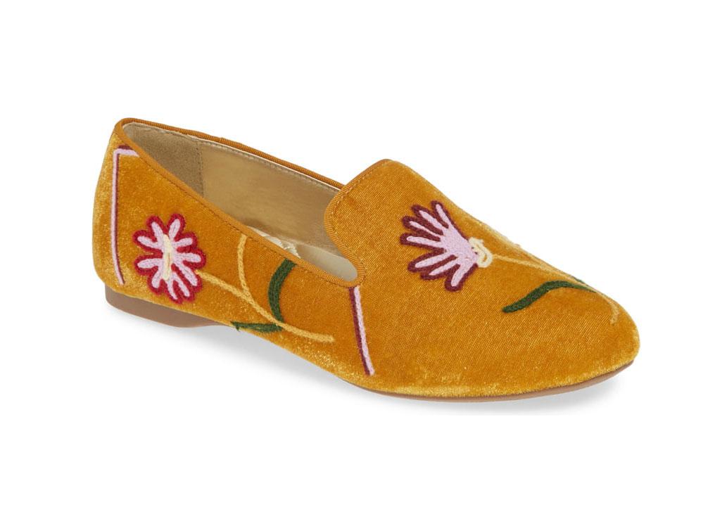 Birdies Starling Embroidered Slipper in Saffron