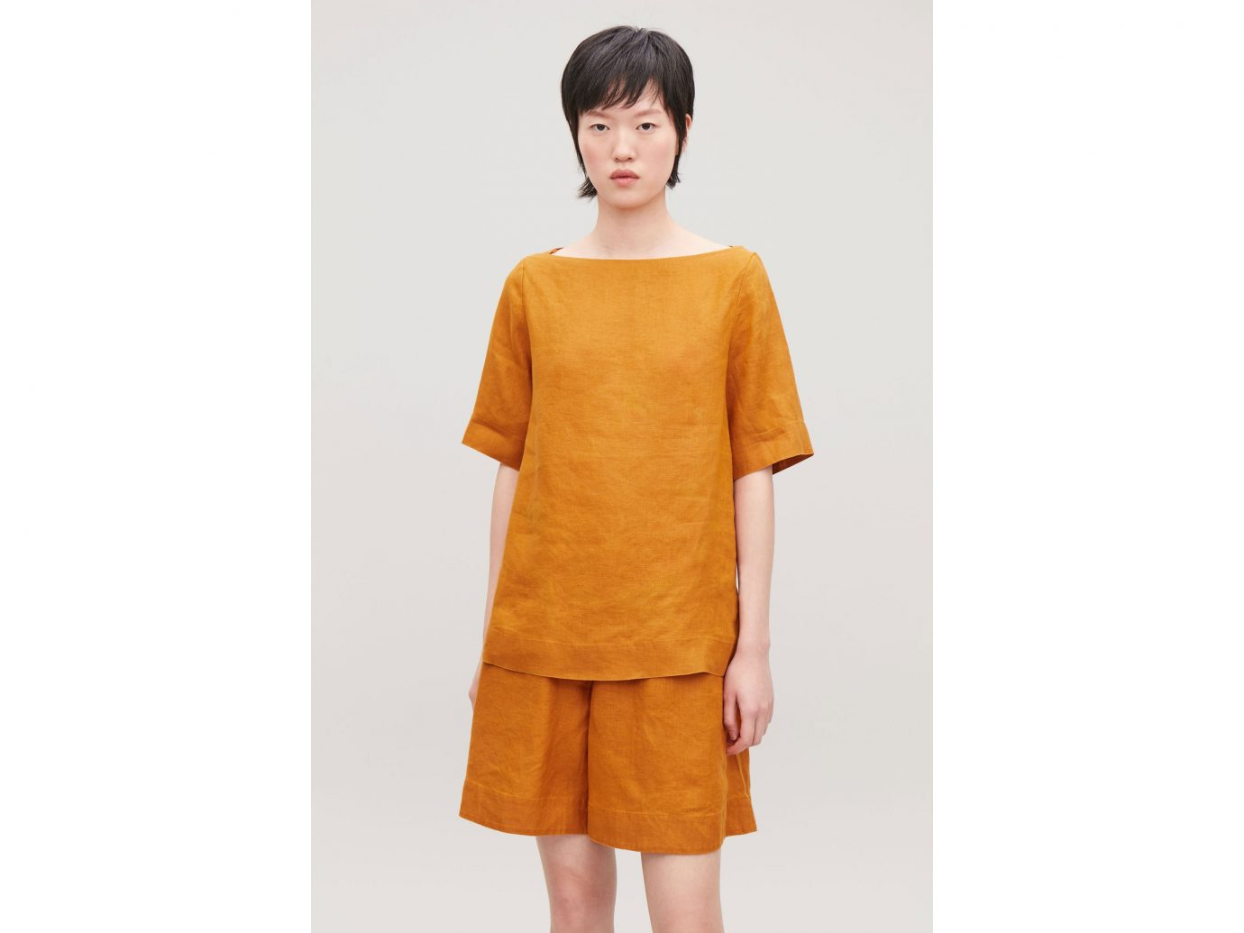 COS boat-neck linen top in burnt orange