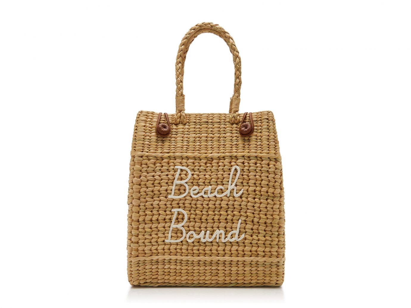 Poolside The Nines Embroidered Straw Tote Beach Bound