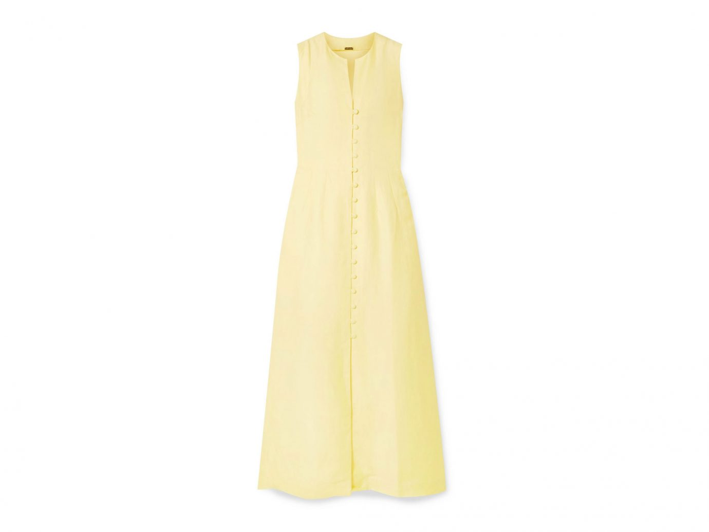 pale yellow linen-blend midi dress from Cult Gaia