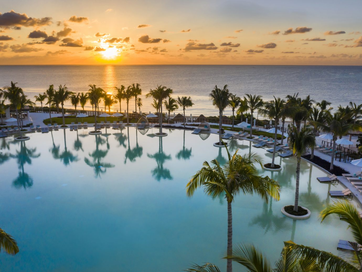 pool and ocean view at sunset at Haven Riviera Cancun, Mexico