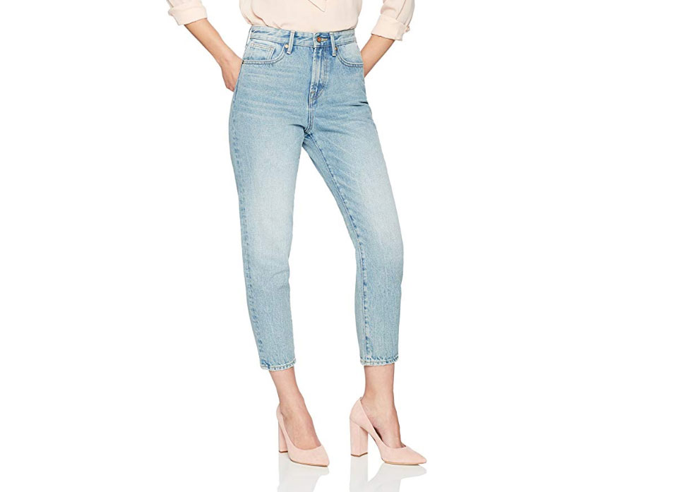 Denim Bloom Women's High Rise Cropped Tapered Fit Jeans with Non Stretch