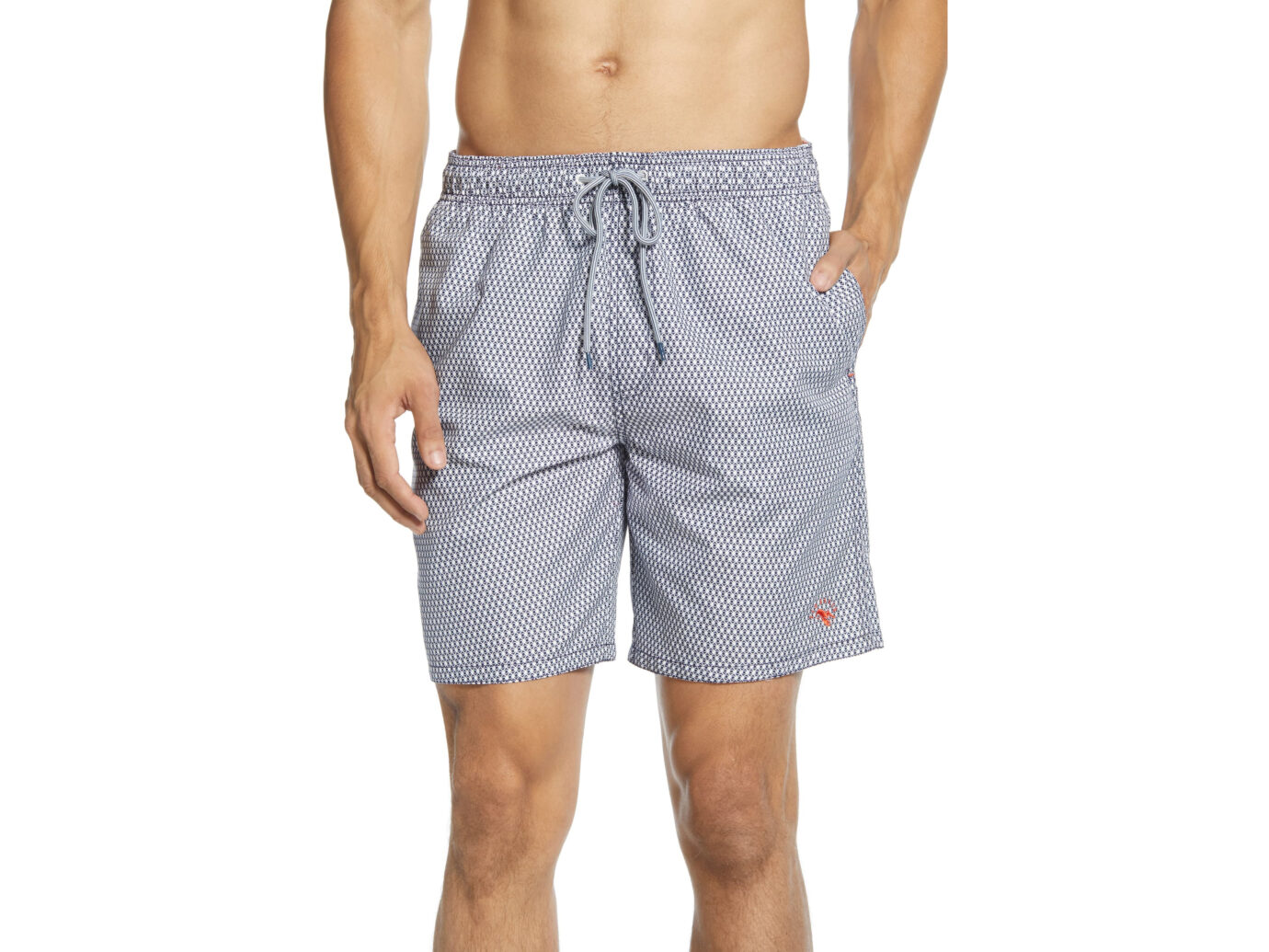 Mens Swim Trunks Striped Texture Gray Classic Quick Dry Beach Short.