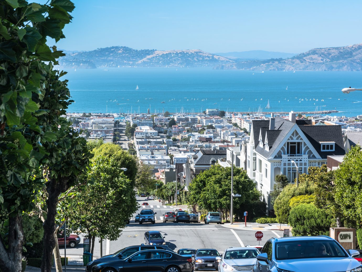 View of the San Francisco Bay from Divisadero Street, California