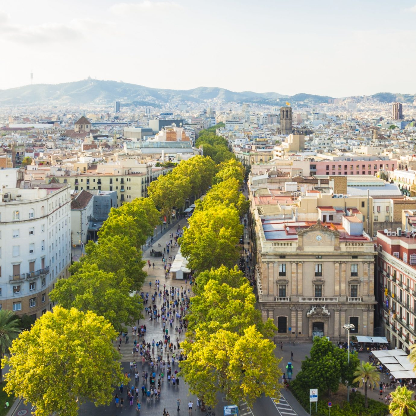 Cityscape of Barcelona with famous La Rambla