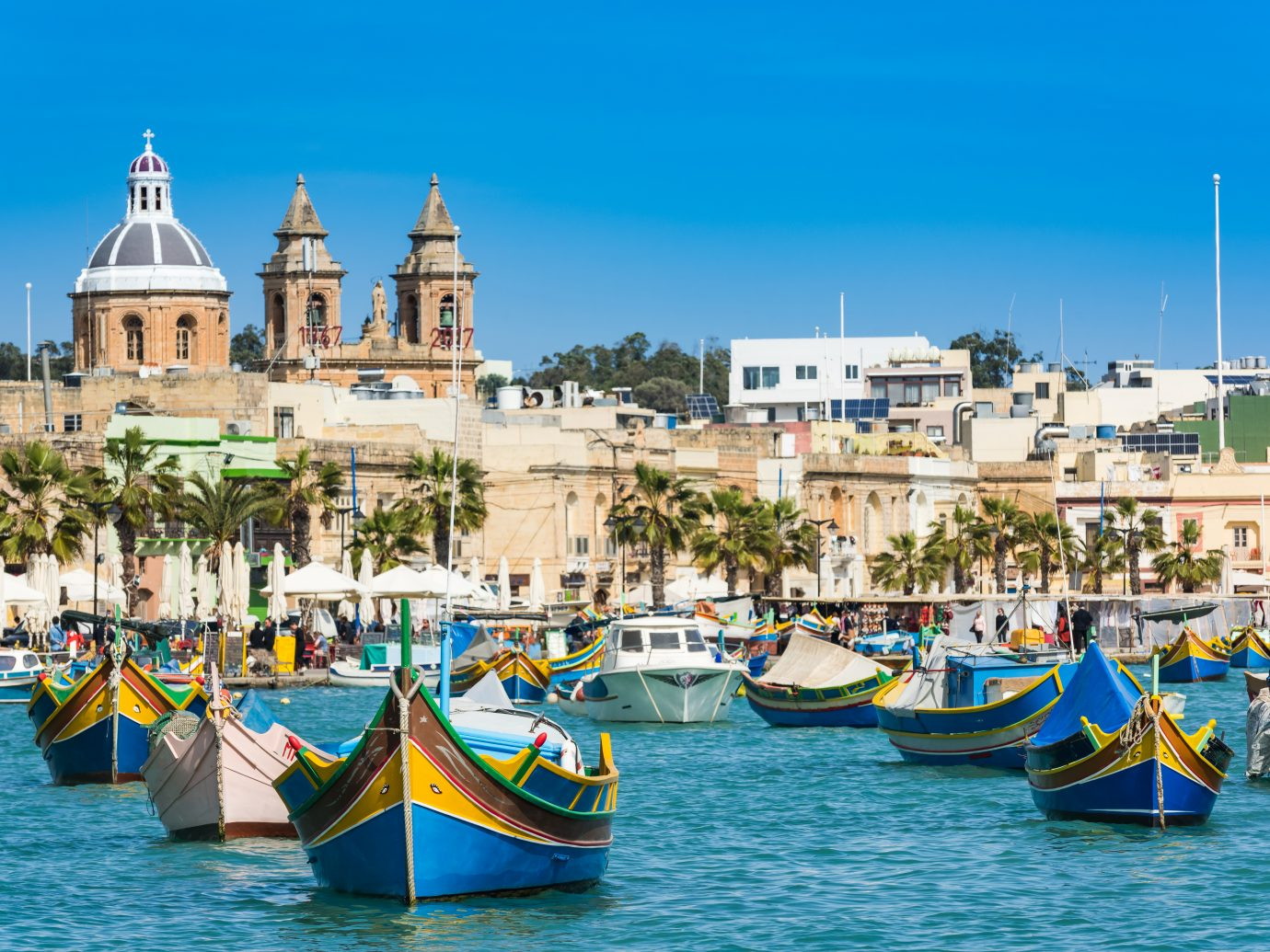 Vibrant fisherman boats in Malta.