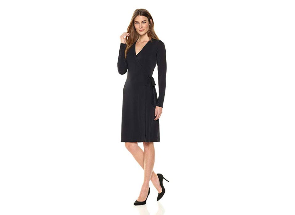 Amazon Brand - Lark & Ro Women's Signature Long Sleeve Wrap Dress