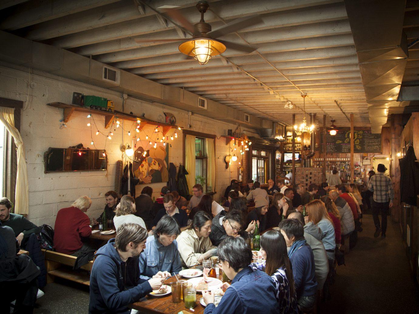 Crowded interior at Roberta's
