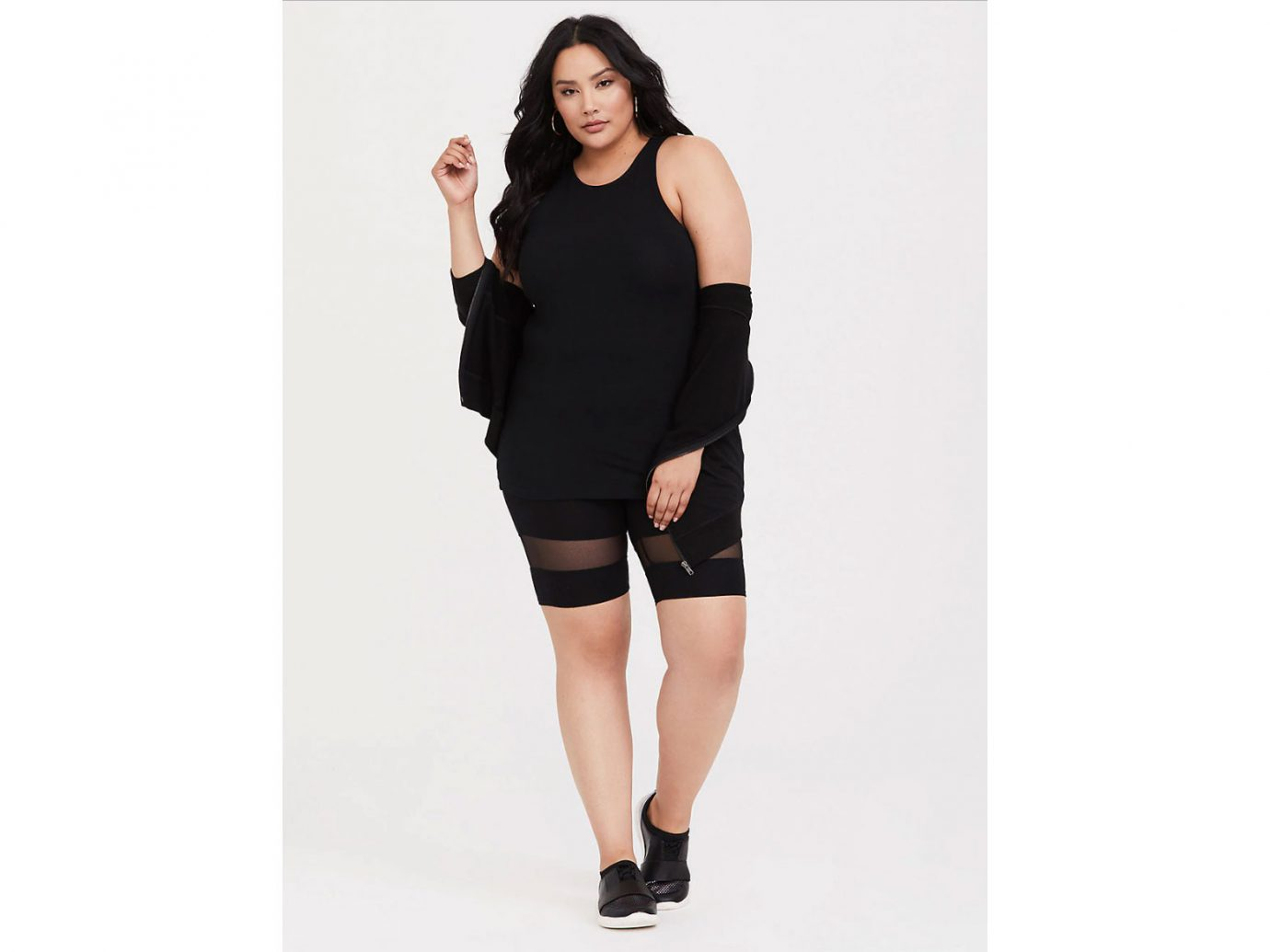 Torrid Black Mesh Inset Bike Short
