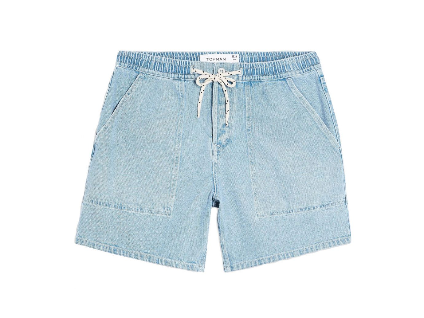 Topman Light Wash Drawcord Shorts