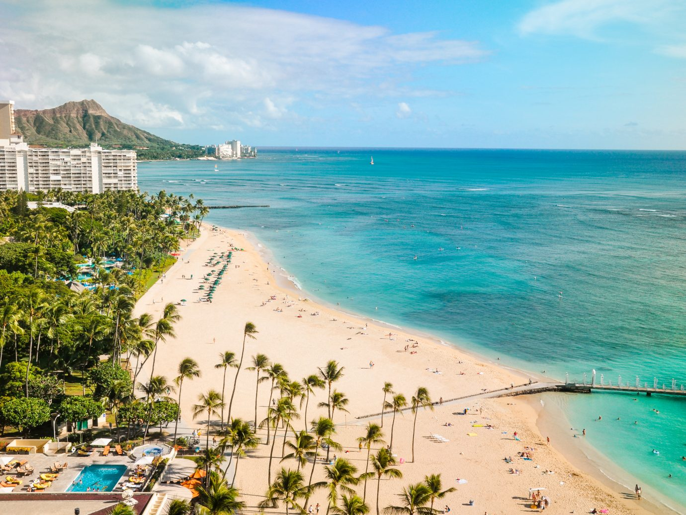 Aerial view of Waikiki Beach in Hawaii