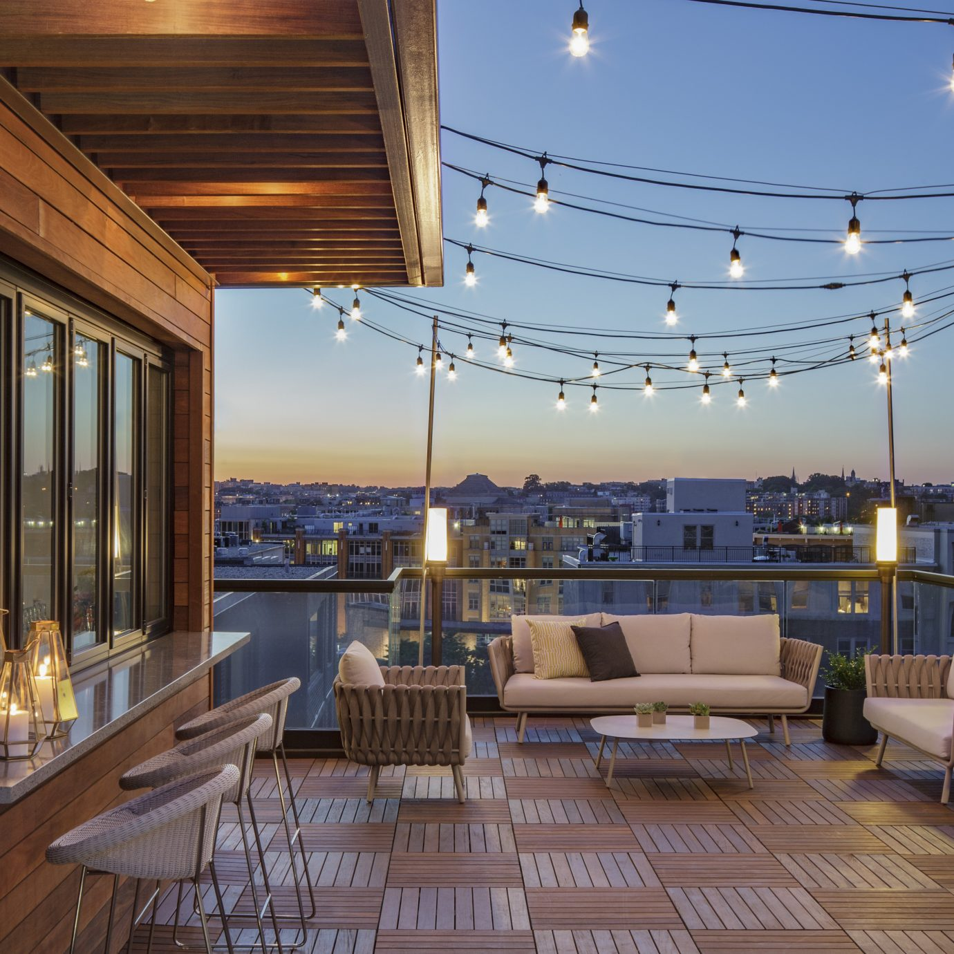 Rooftop bar at Mason & Rook in DC.