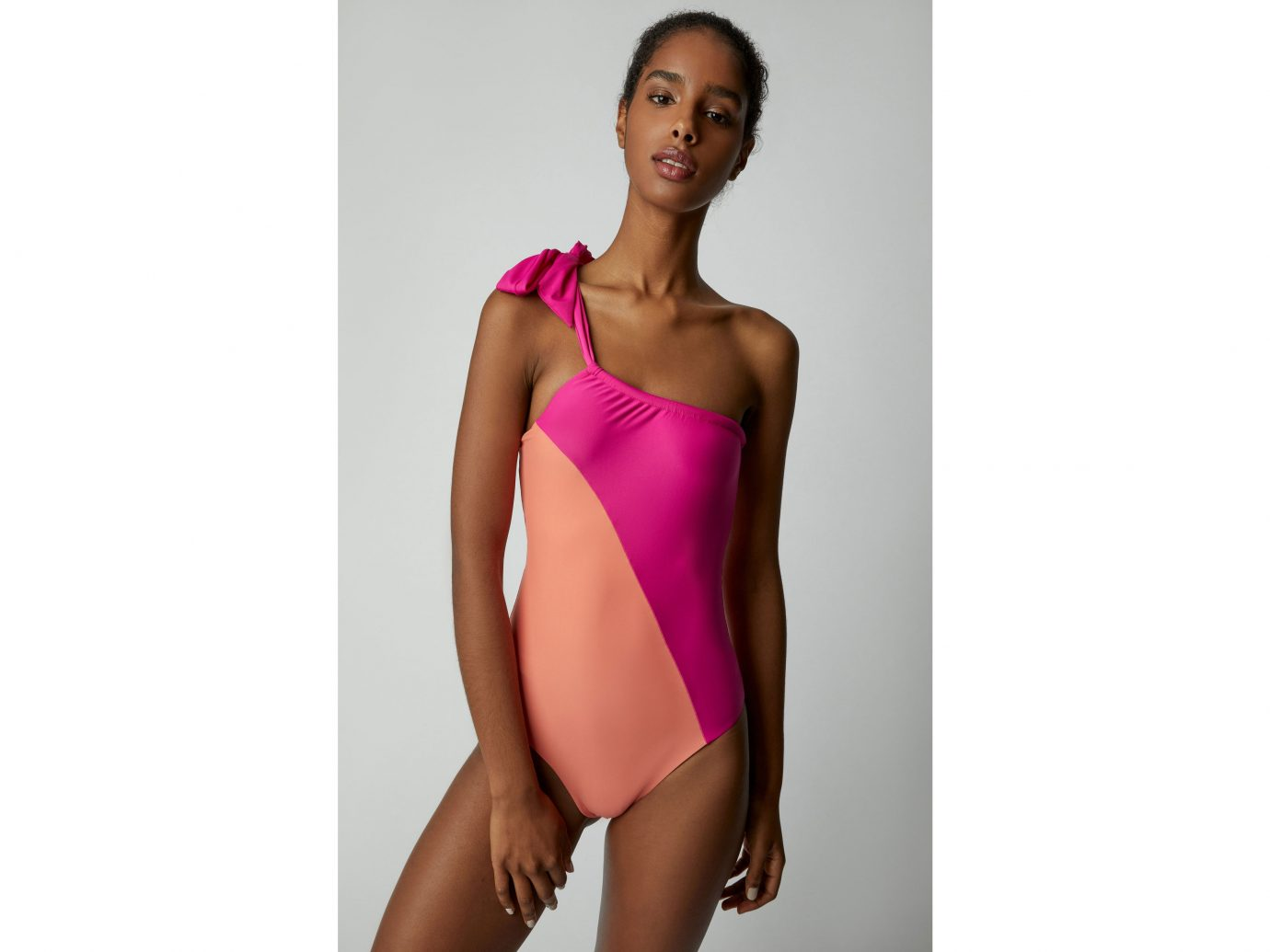 Sébastien Emilie Two-Tone One-Shoulder Swimsuit