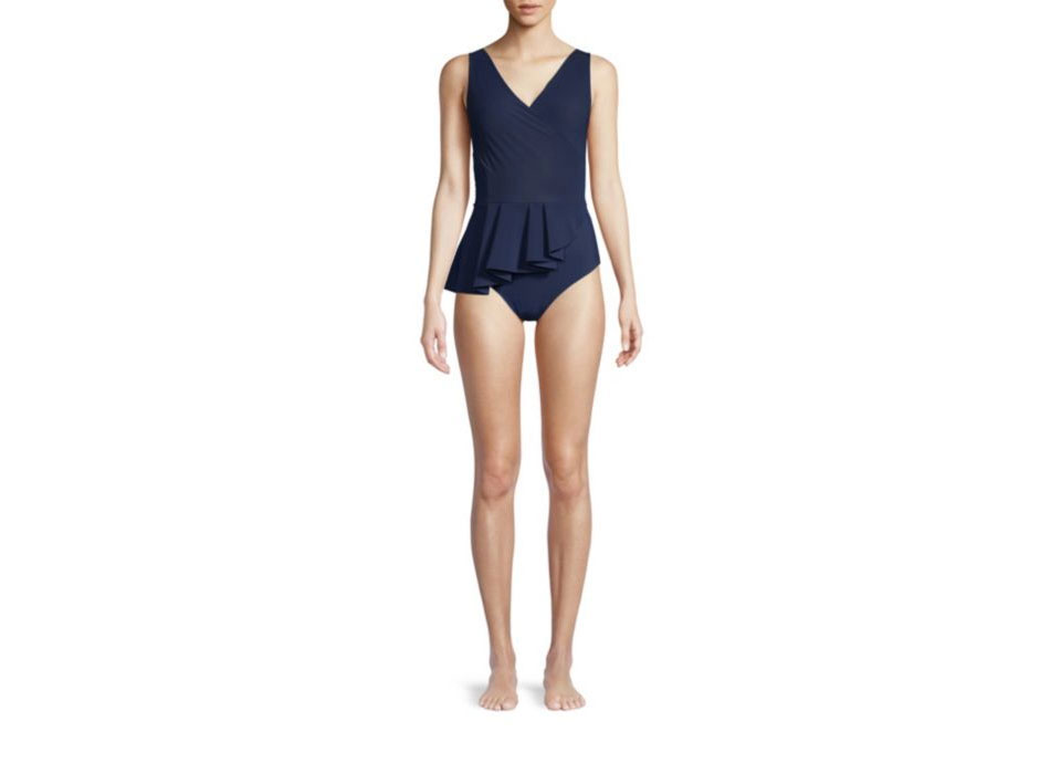 Chiara Boni La Petite Robe Arinette Asymmetric Peplum One-Piece Swimsuit