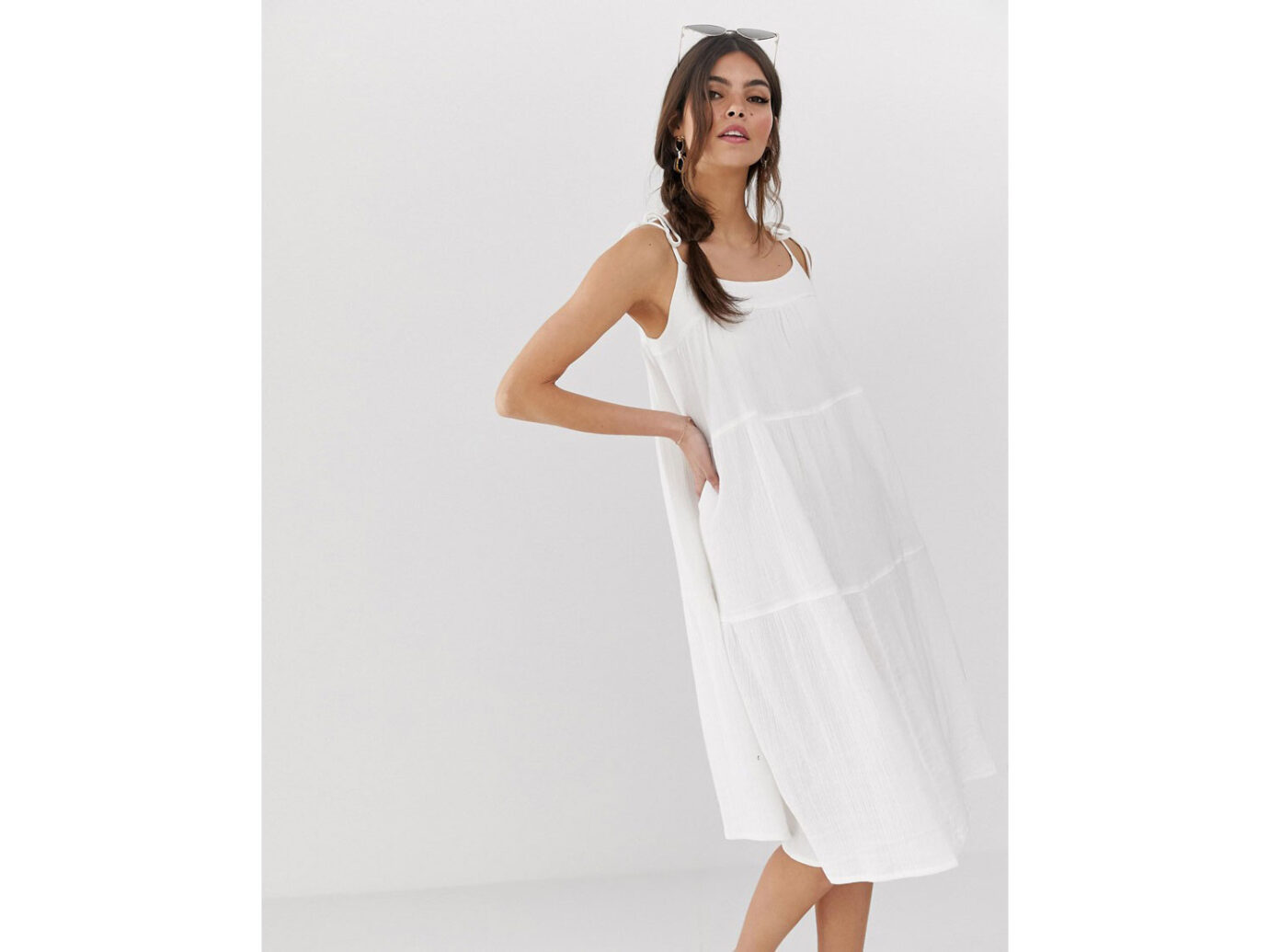 ASOS DESIGN cheesecloth tiered midi sundress with tie straps