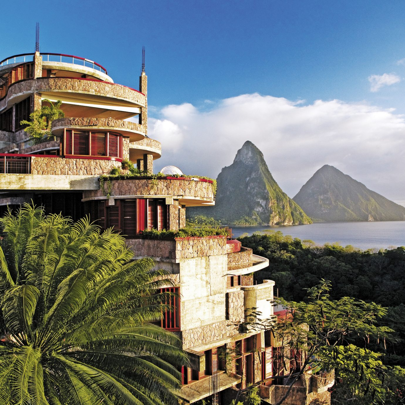 Exterior view of Jade Mountain in St. Lucia