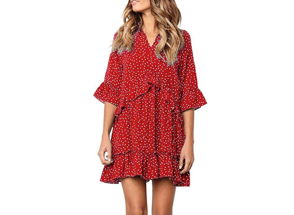 MITILLY Women's V Neck Ruffle Polka Dot Dress