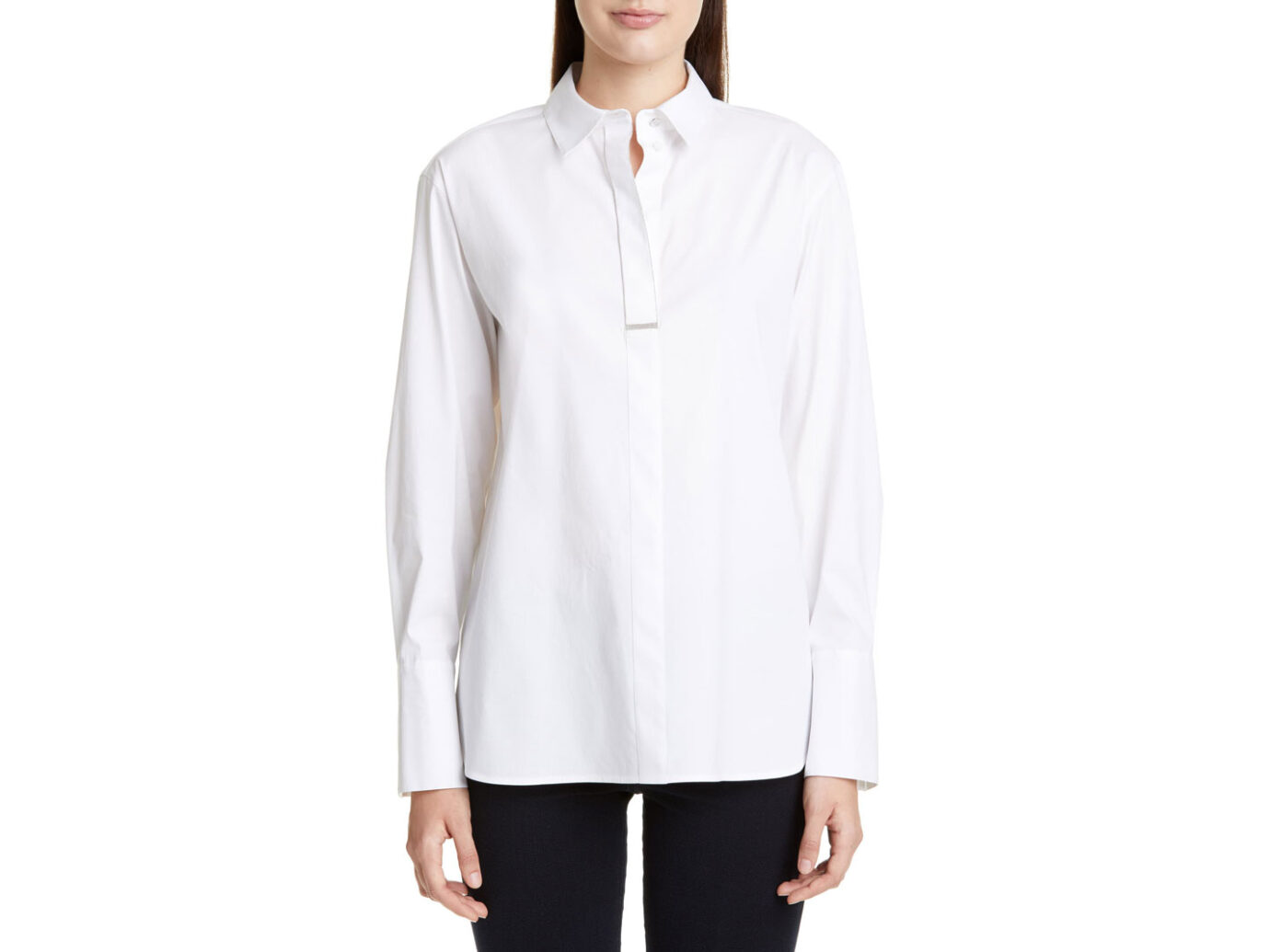 Lafayette 148 New York Acelyn Chain Trim Blouse