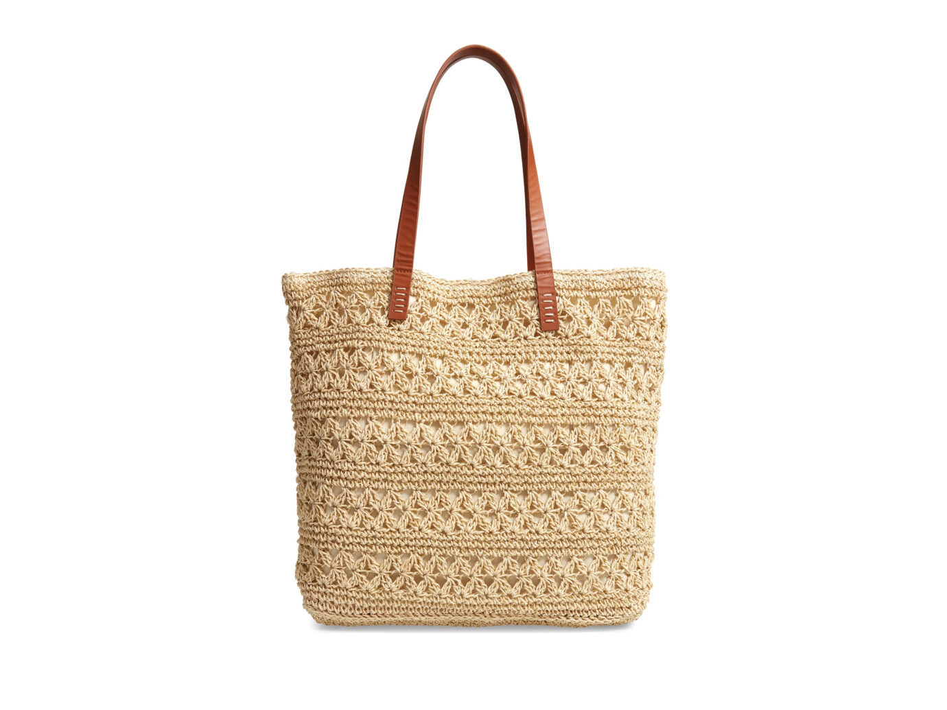 Nordstrom Packable Metallic Thread Woven Raffia Tote