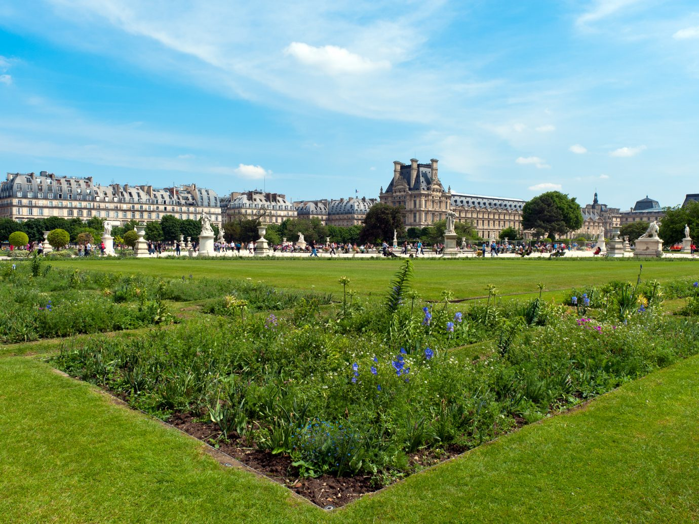 The Tuileries Gardens with the Louvre in the background.