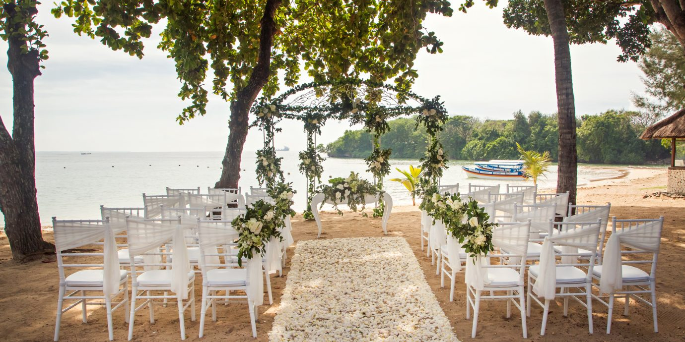 Romantic wedding setup at the beach