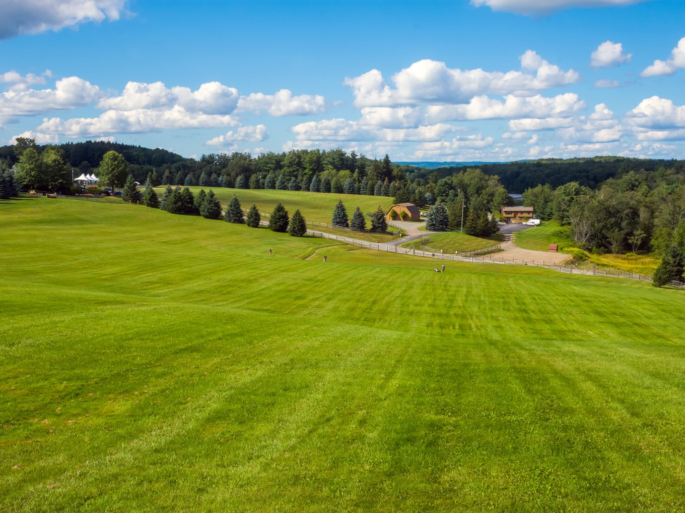 A view from the top of the hill of the Woodstock Concert grounds.