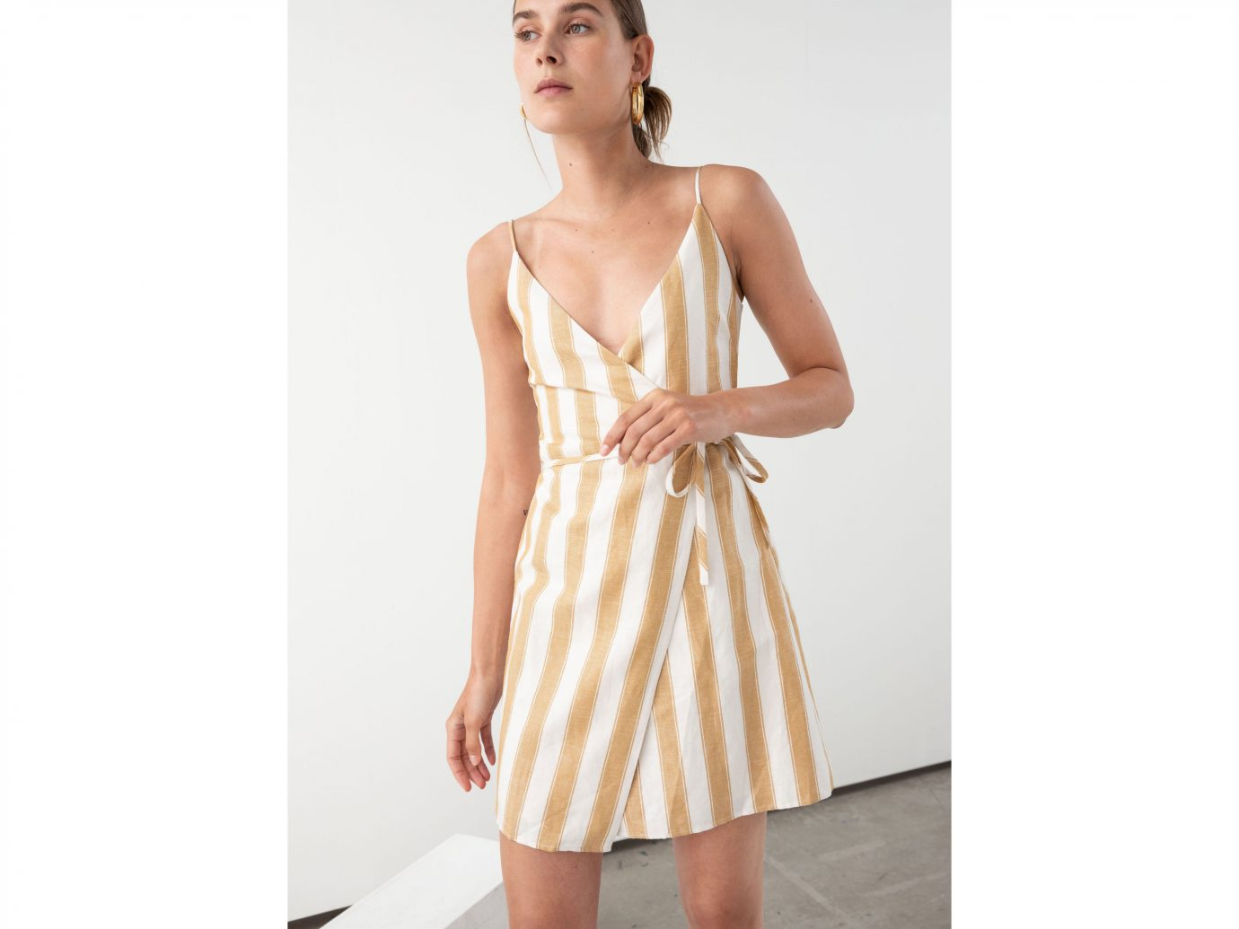 & Other Stories Striped Cotton Linen Mini Wrap Dress