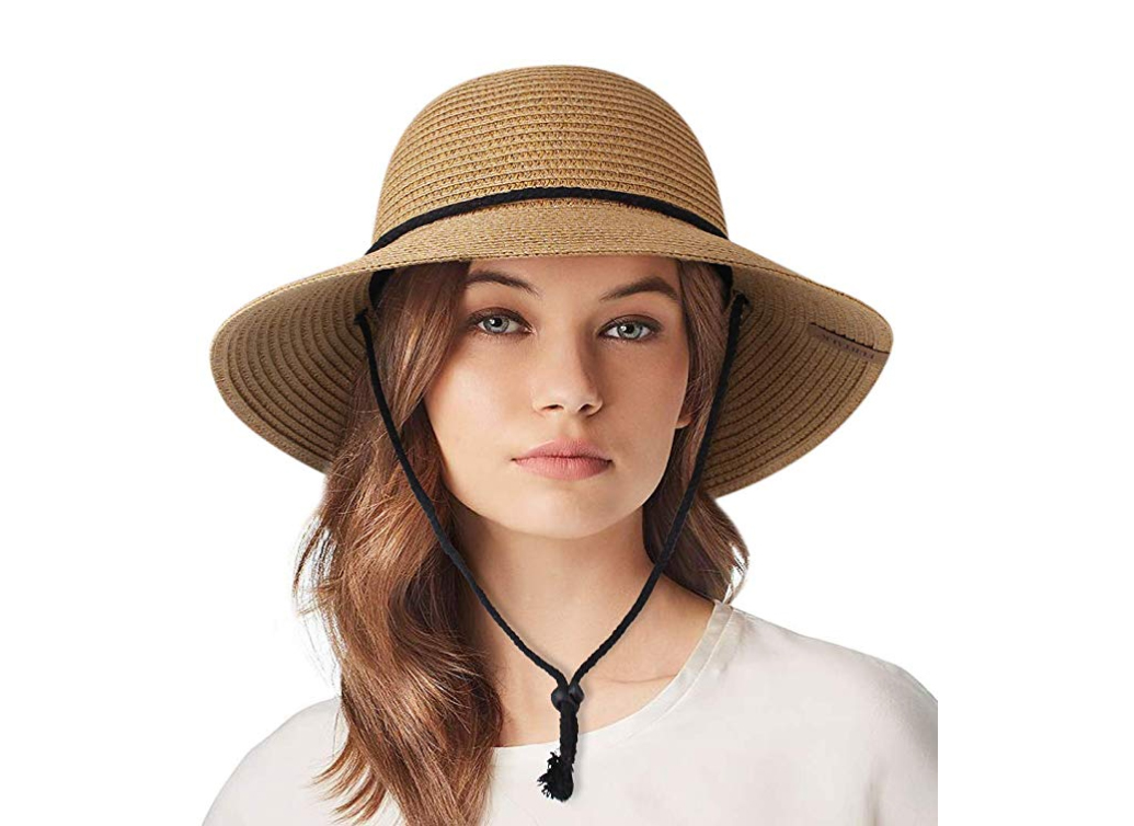 Womens Wide Brim Sun Hat with Wind Lanyard
