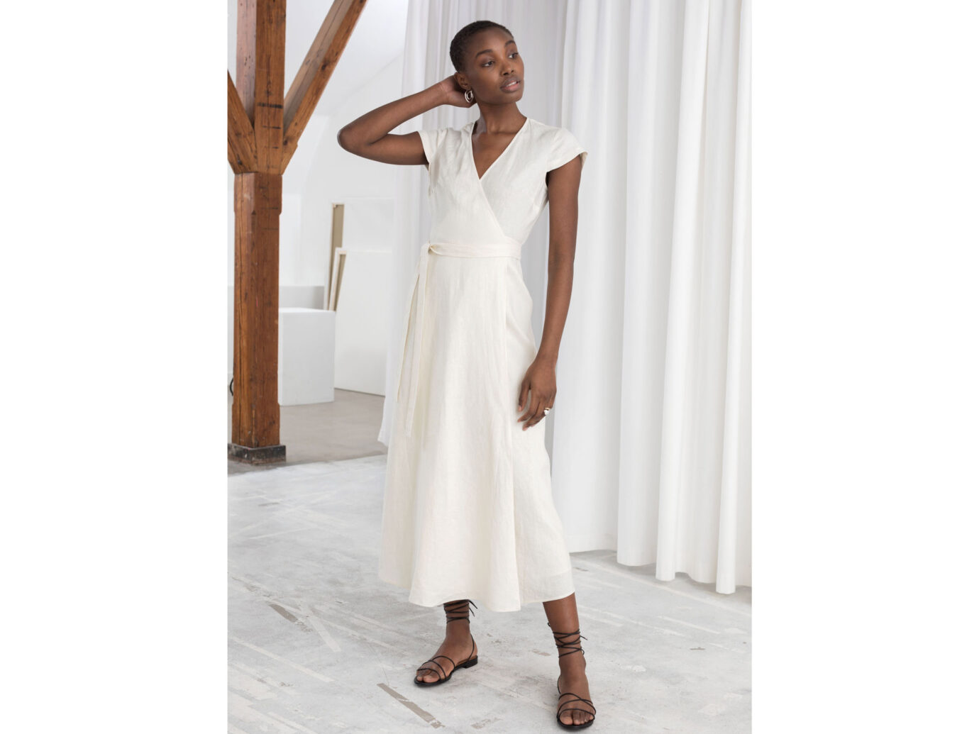 & Other Stories Linen Midi Wrap Dress