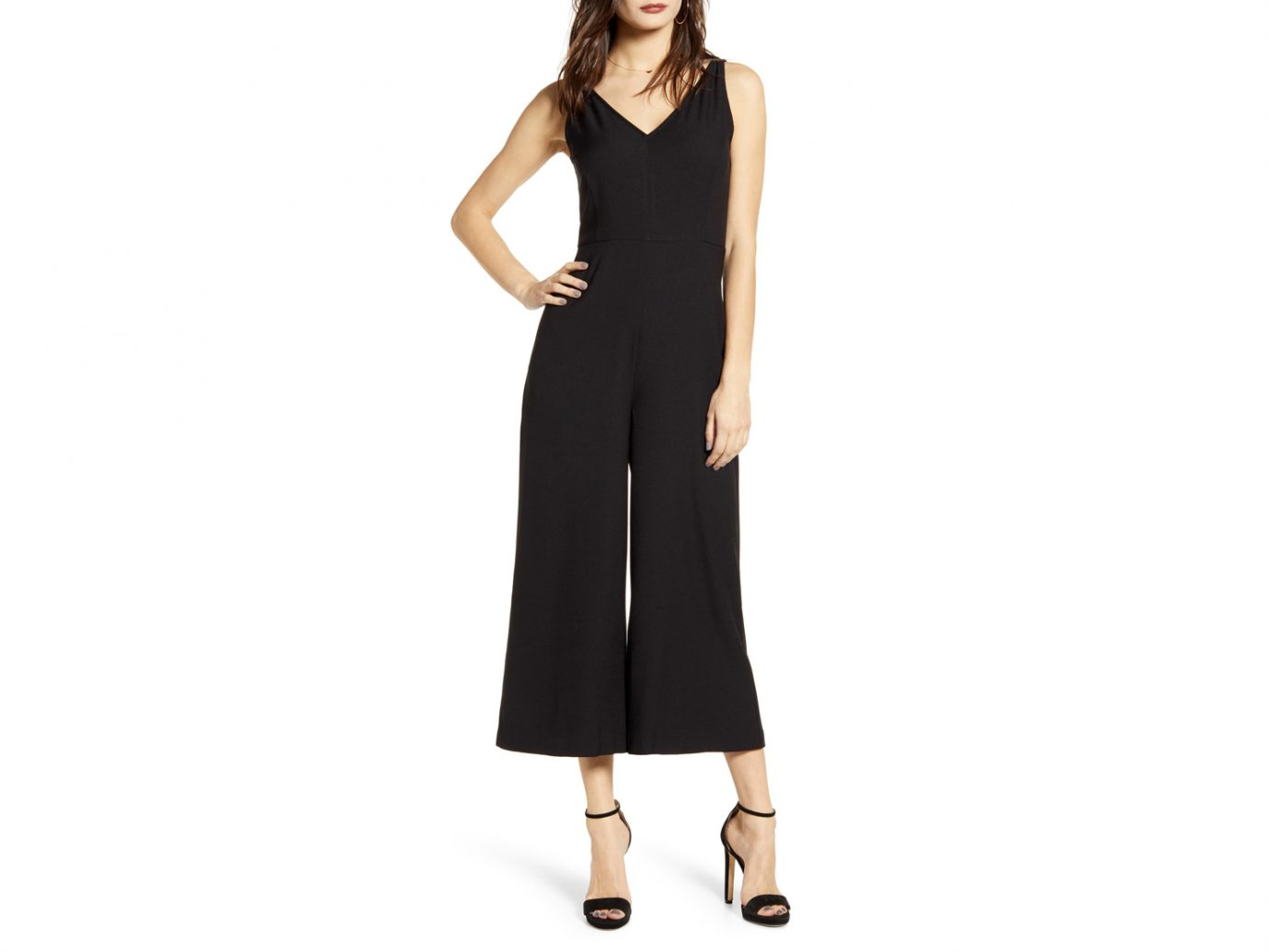 Leith V-Neck Wide Leg Crop Jumpsuit
