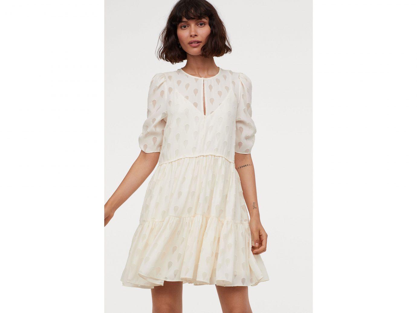 H&M Puff-sleeved Dress in cream