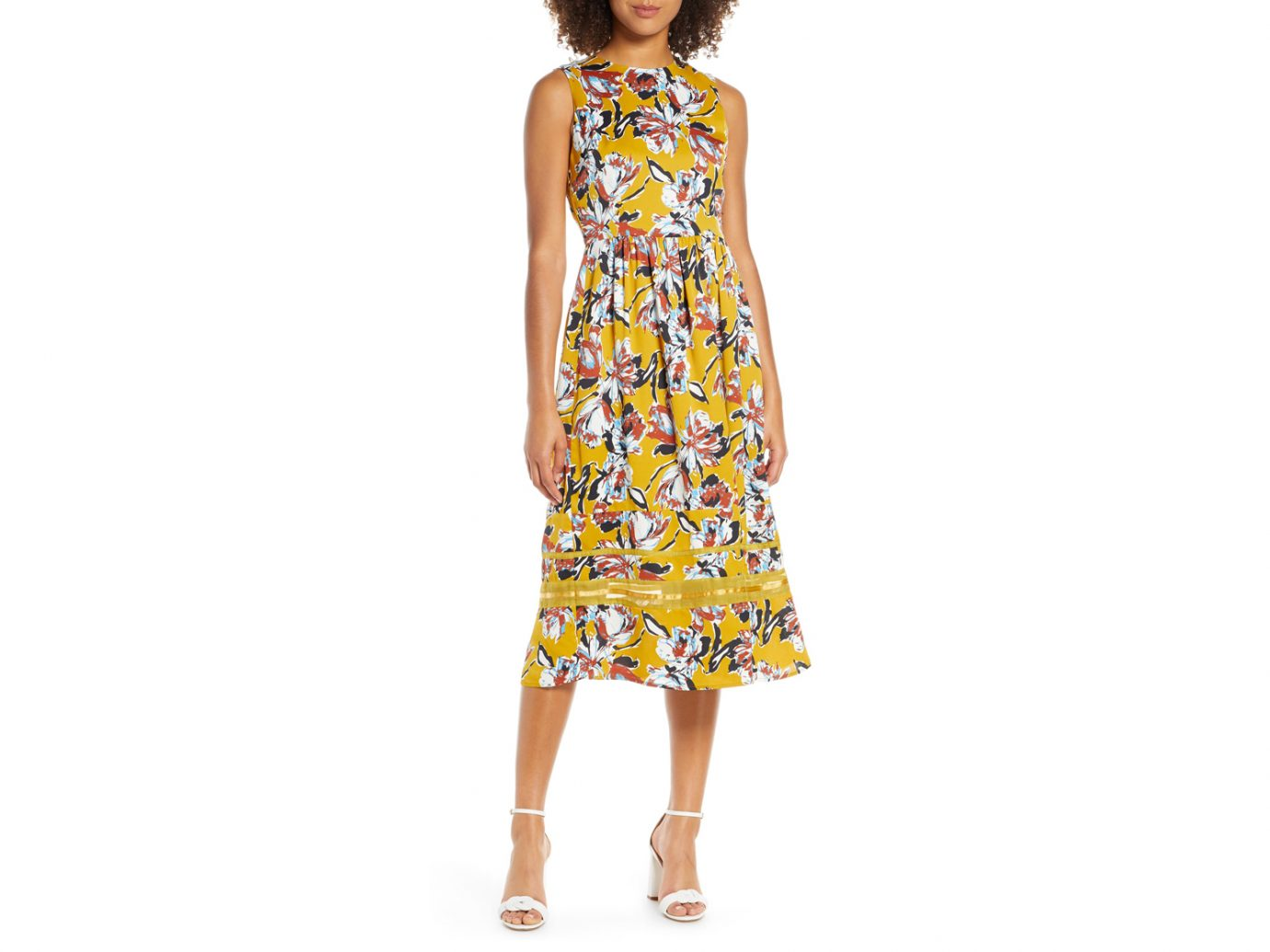 Chelsea28 Floral Print Sleeveless Midi Dress