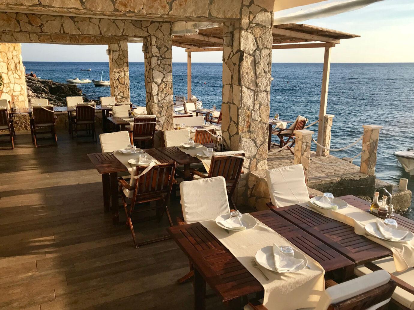 Outdoor dining area at Konoba Kotin Restaurant, Hvar Croatia