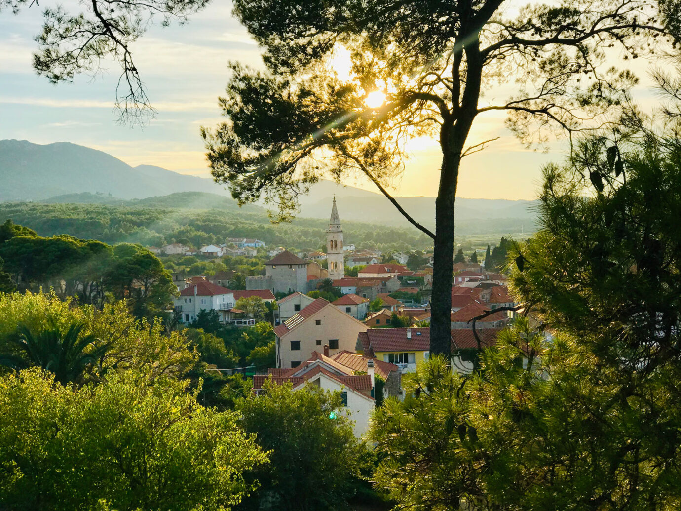 View of the village of Hvar just before sunset