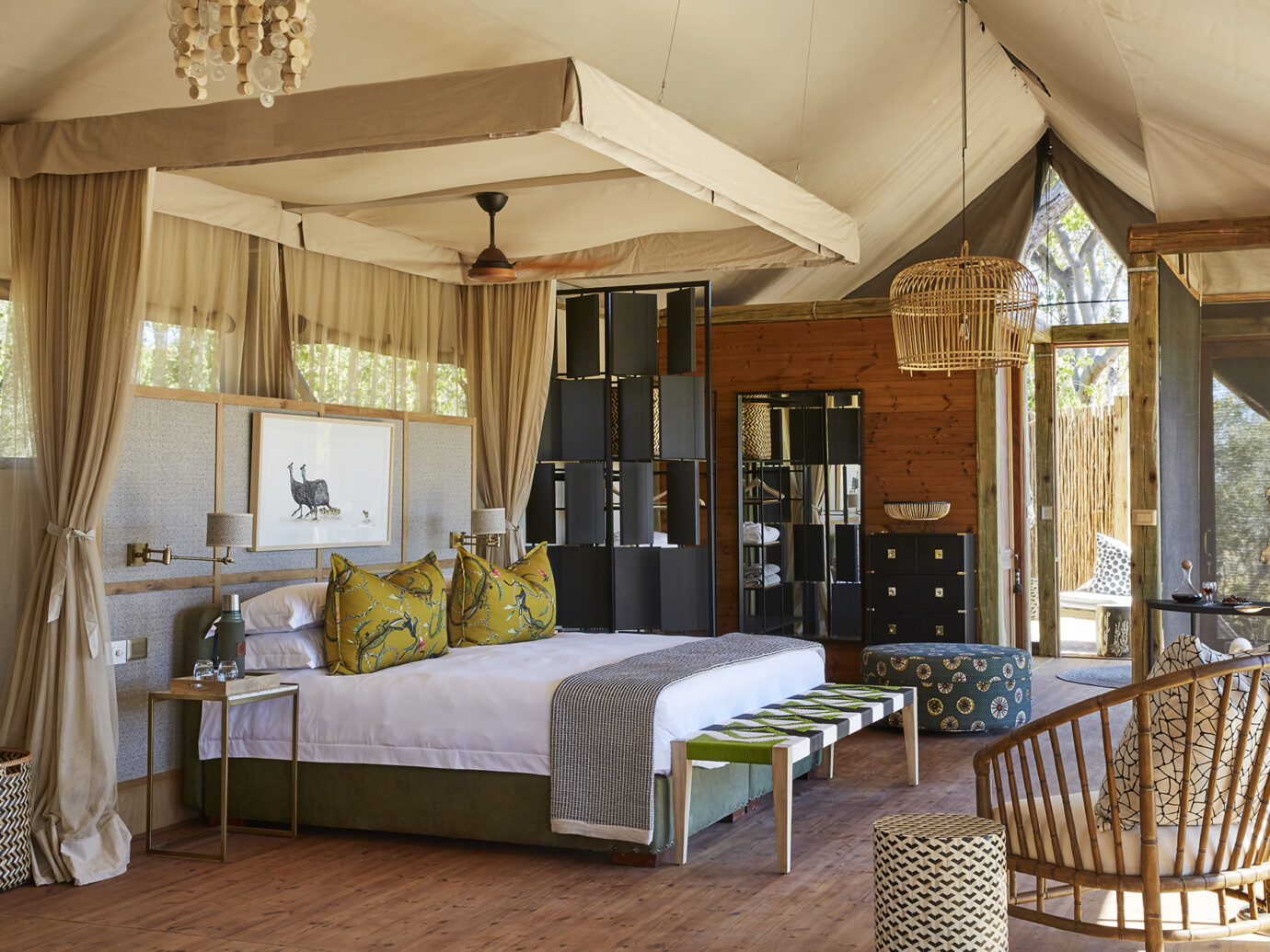 Bedroom at Tuludi Camp, Botswana