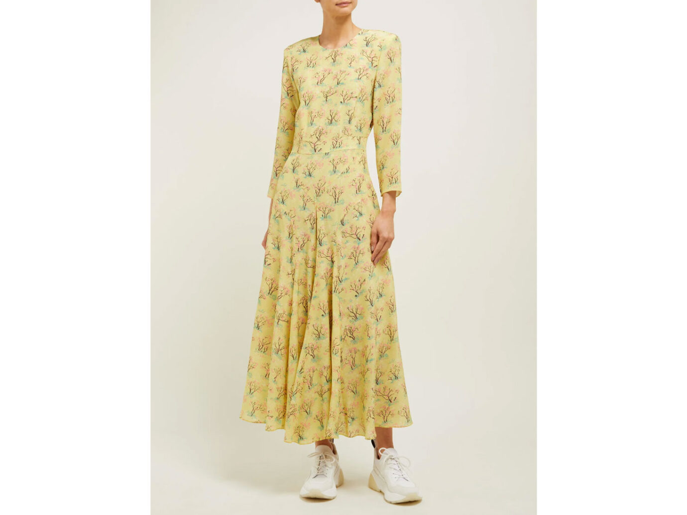Raey Bracelet-sleeve acid tree-print silk dress