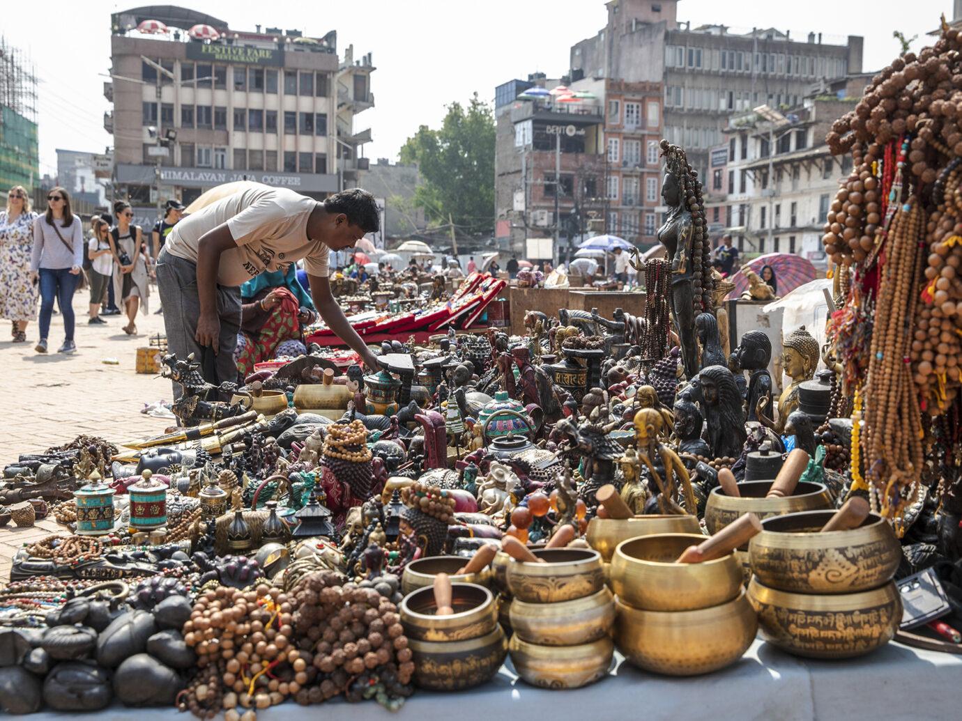 goods being sold at the Kinari Bazaar in Agra