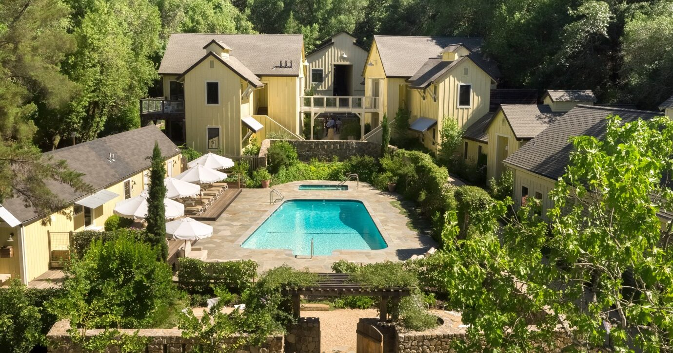 Aerial view of Farmhouse Inn in Sonoma