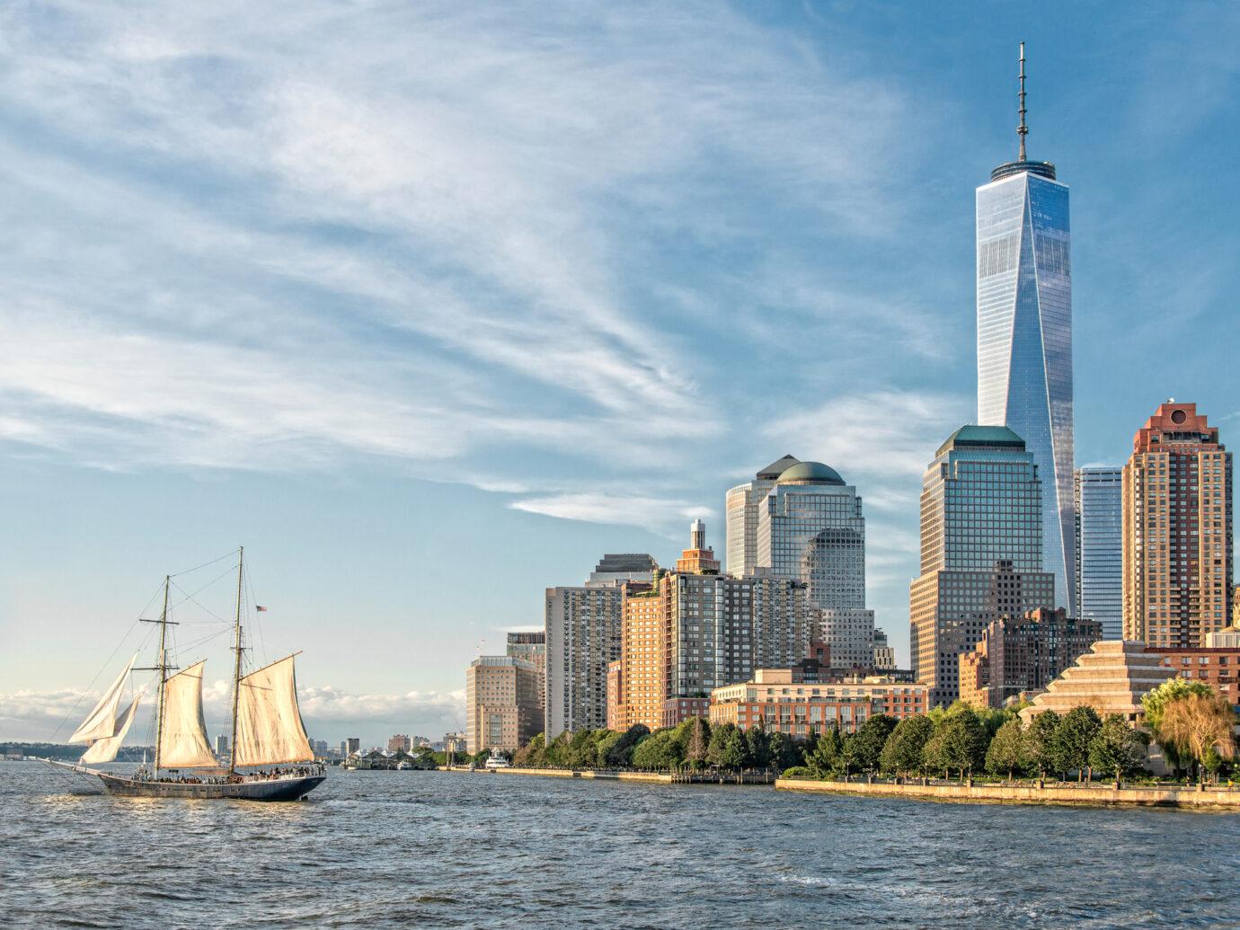 Schooner ship in the harbor new the World Trade Center
