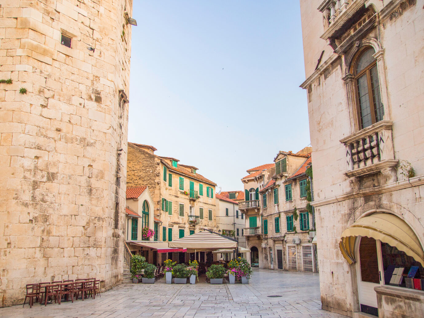 City of Split, Croatia, early morning in the old town square in the Diocletians Palace