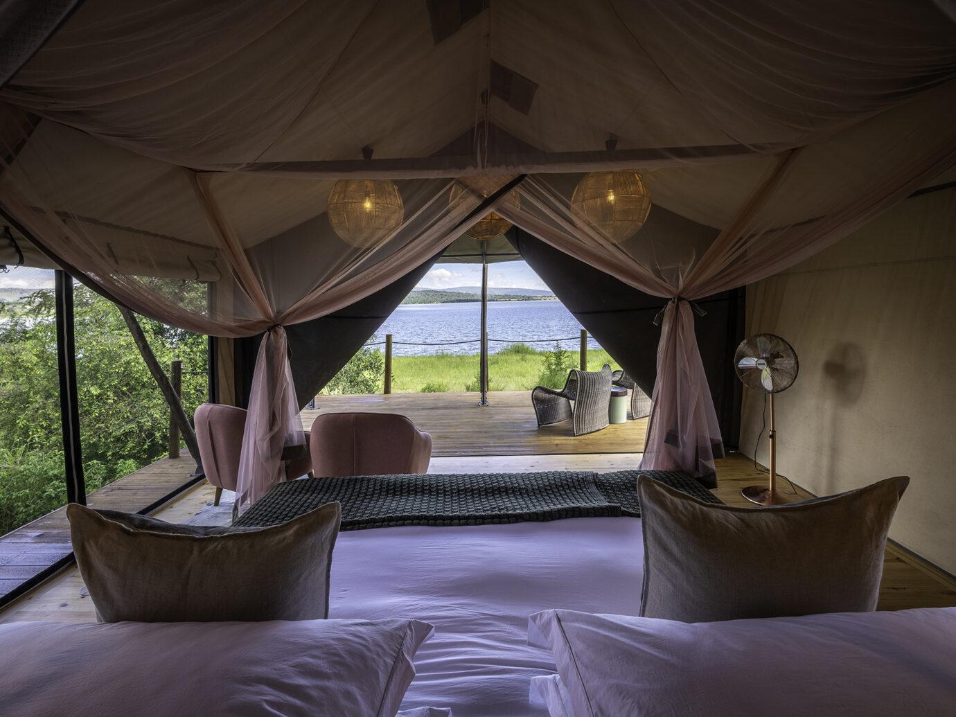 Bedroom at Wilderness Safaris Magashi, Rwanda
