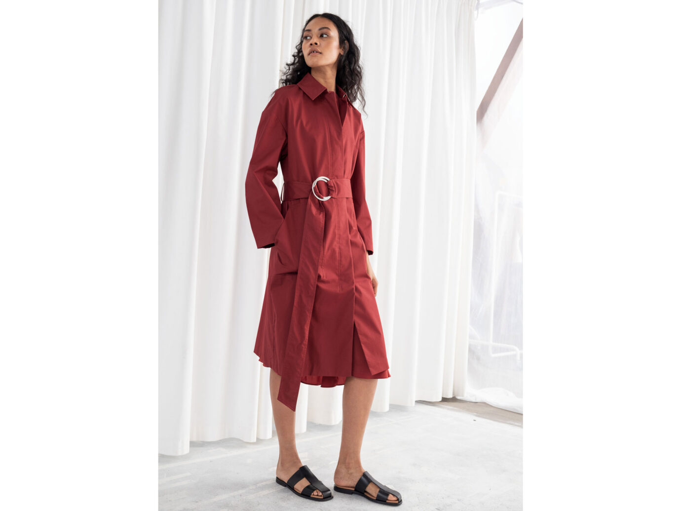 Betled Cotton Twill Trenchcoat