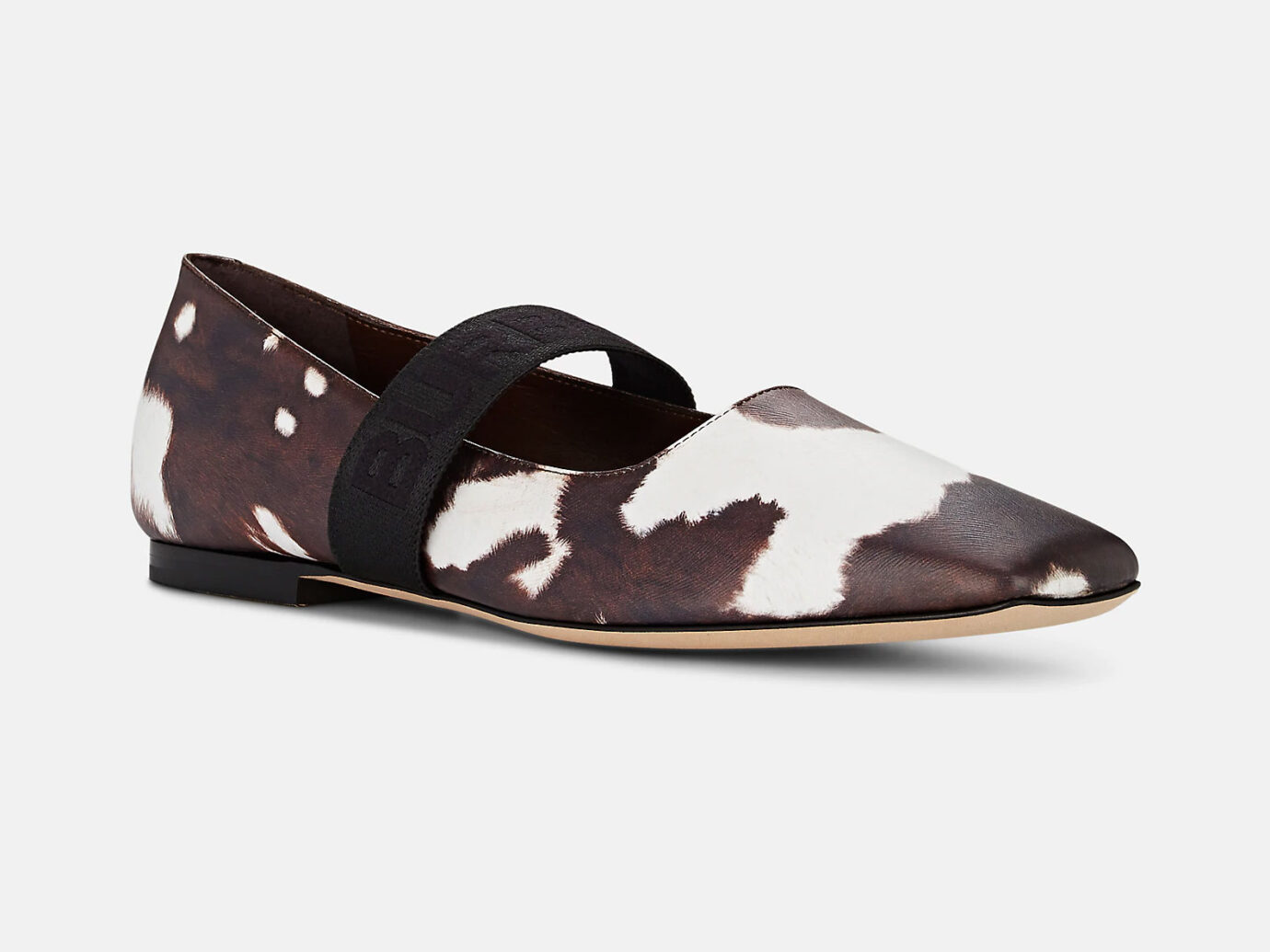 Burberry Cow-Print Leather Ballet Flats