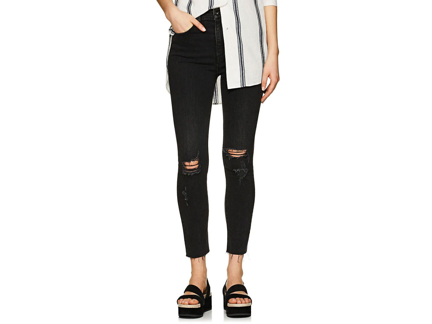 RAG & BONE High Rise Ankle Skinny Distressed Jeans